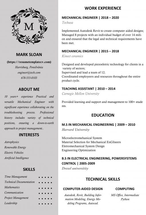 IDAA000100-resume-template8-white-1page-Mechanical_Engineer-0to10y