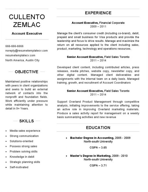 IDBB000005-resume-template-white-1-page-account-executive-no_pic