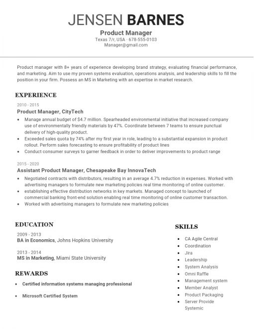 IDBB000027-resume-template-white-1-page-Product-Manager-no_pic