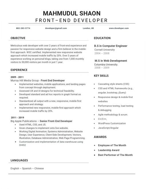 IDBB000032-resume-template-white-1-page-Front-End-Developer-no_pic