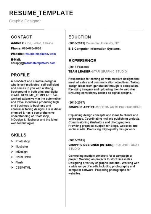 IDBB000044-resume-template-white-1-page-Graphic Designer-no_pic