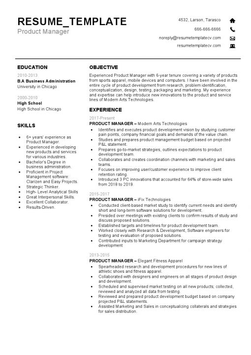 IDBB000046-resume-template-white-1-page-Product-Manager-no_pic