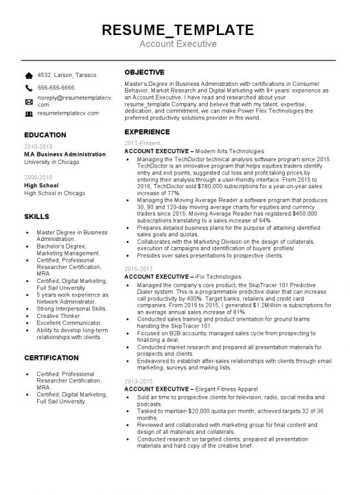 IDBB000047-resume-template-white-1-page-Account-Executive-no_pic