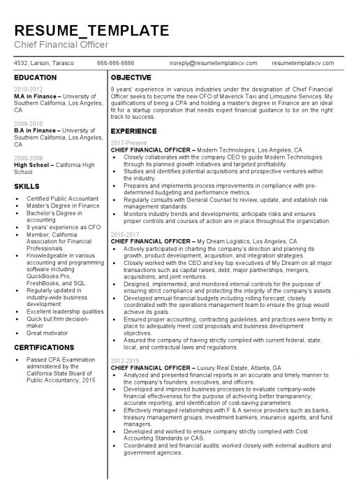 IDBB000055-resume-template-white-1-page-Chief-Financial-Officer-no_pic