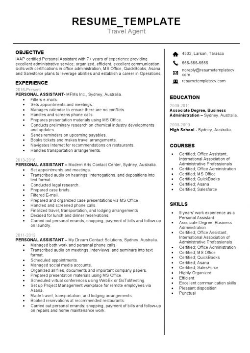 IDBB000061-resume-template-white-1-page-Travel-Agent-no_pic